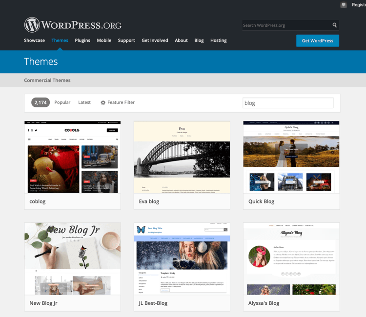 WordPress org themes