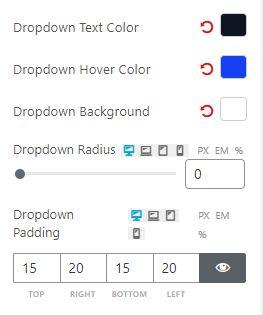 Filter Dropdown Settings