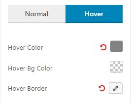 Filter Hover Settings