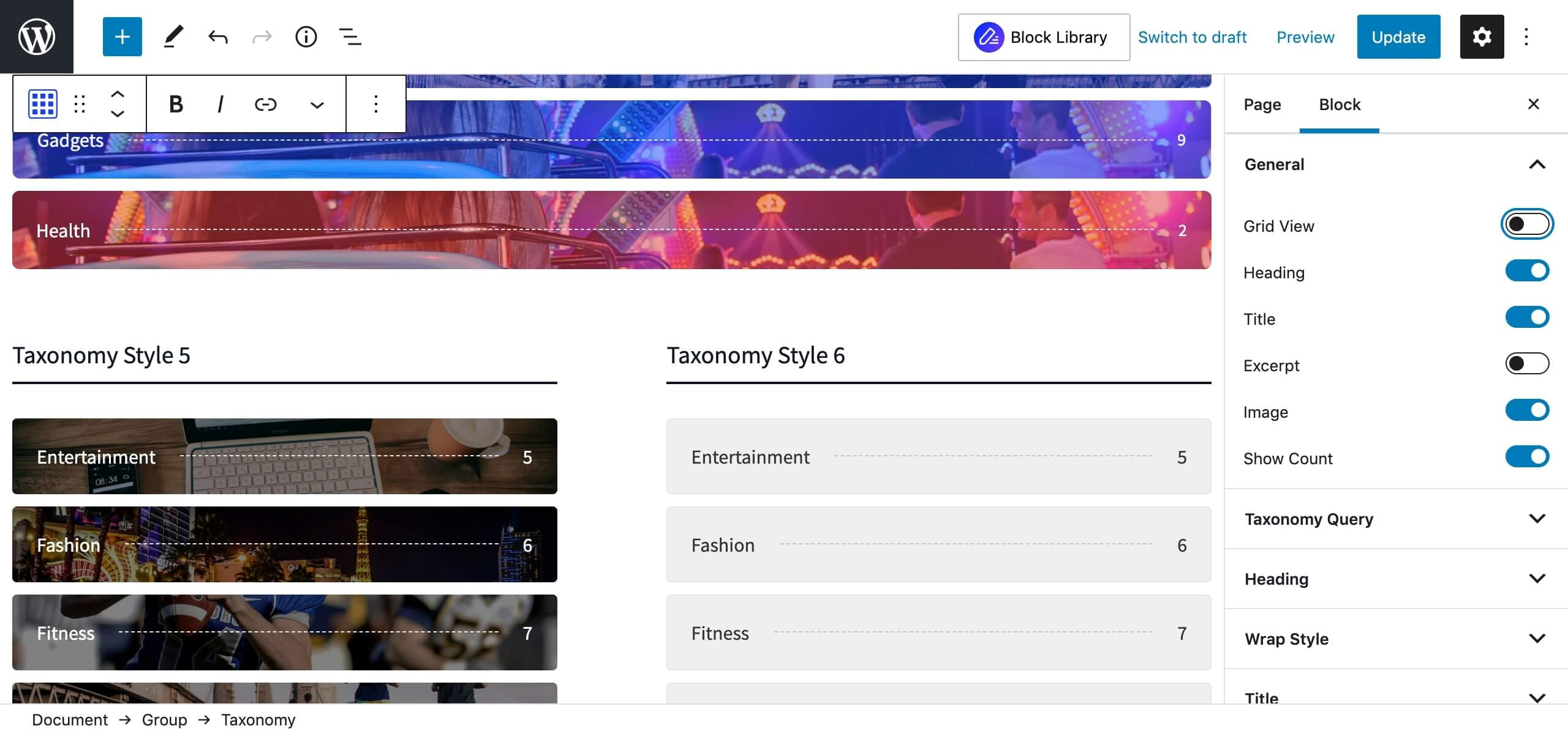 Taxonomy List View