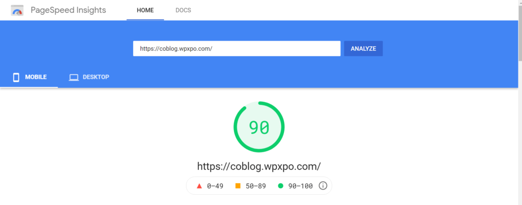 Coblog Mobile Page Insight