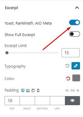 Turn on Yoast, RankMath, AIO Meta
