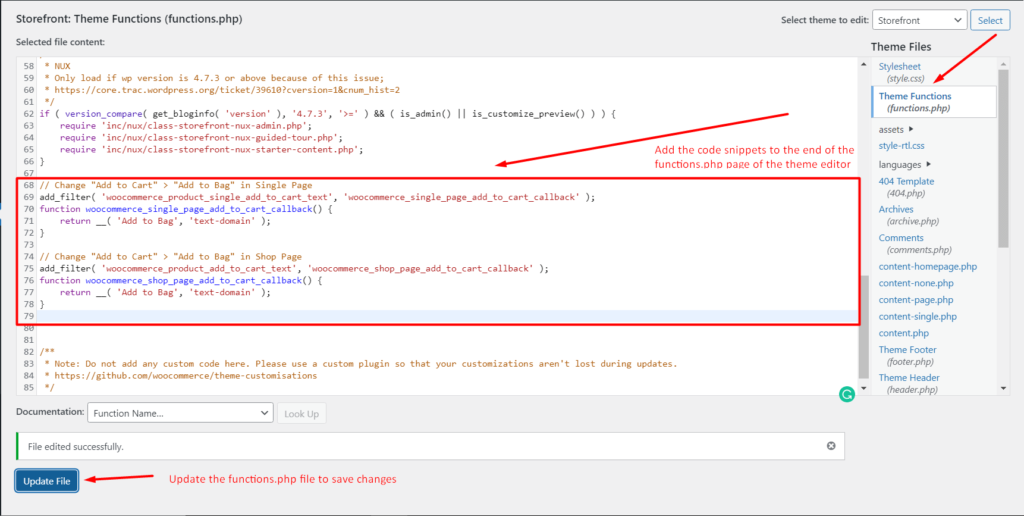 Adding the Code to the functions.php file