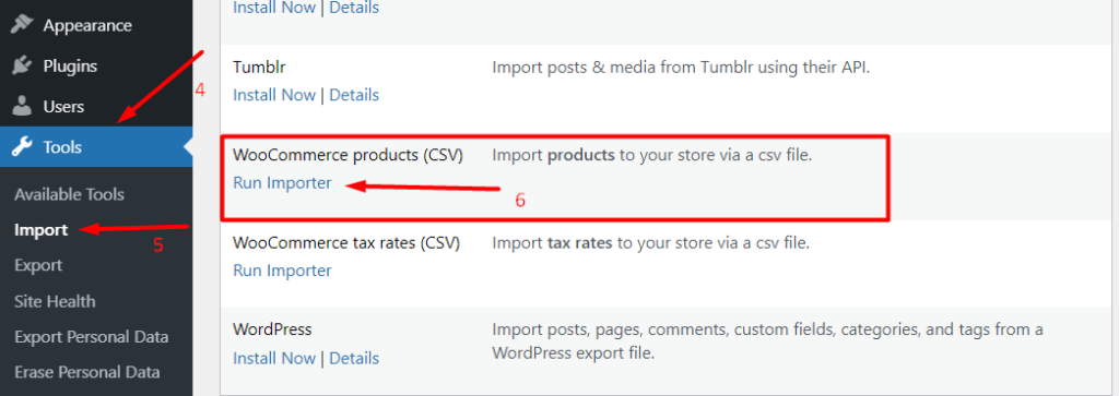 Importing WooCommerce Products