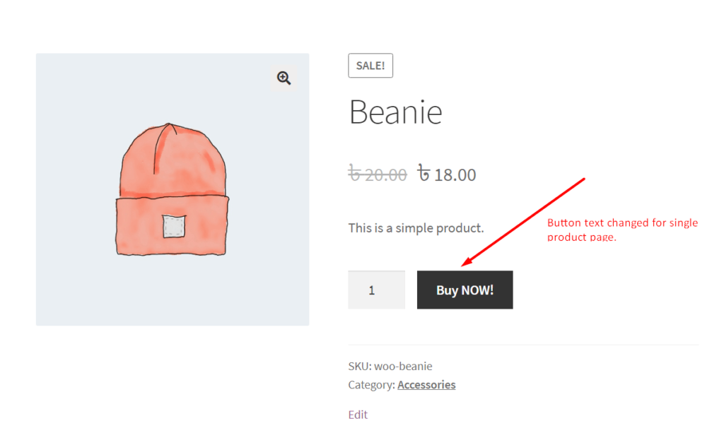 Add to Cart Button Text Change in Single Product Page