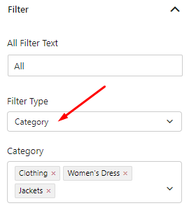 select category filter