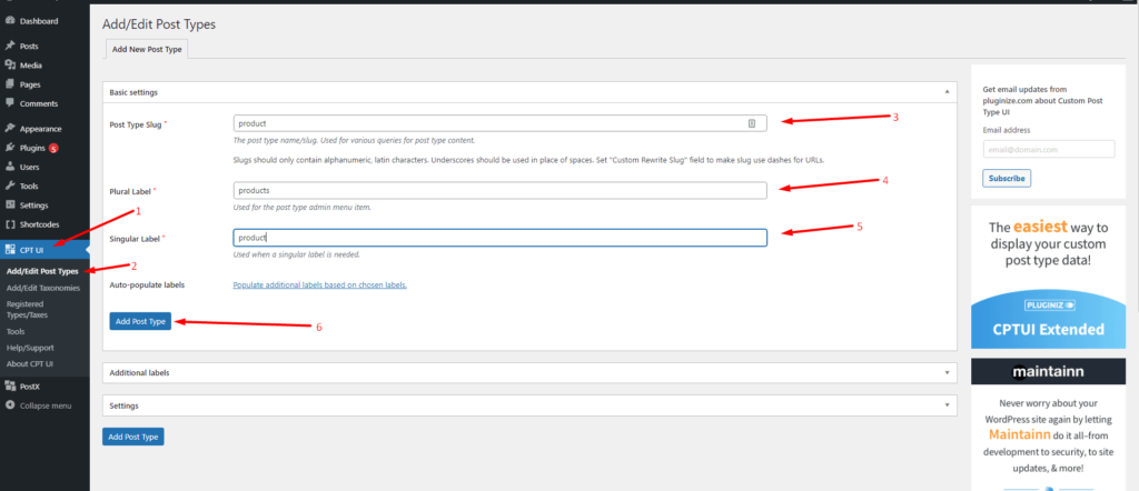 WordPress Custom Post Type Plugin Settings
