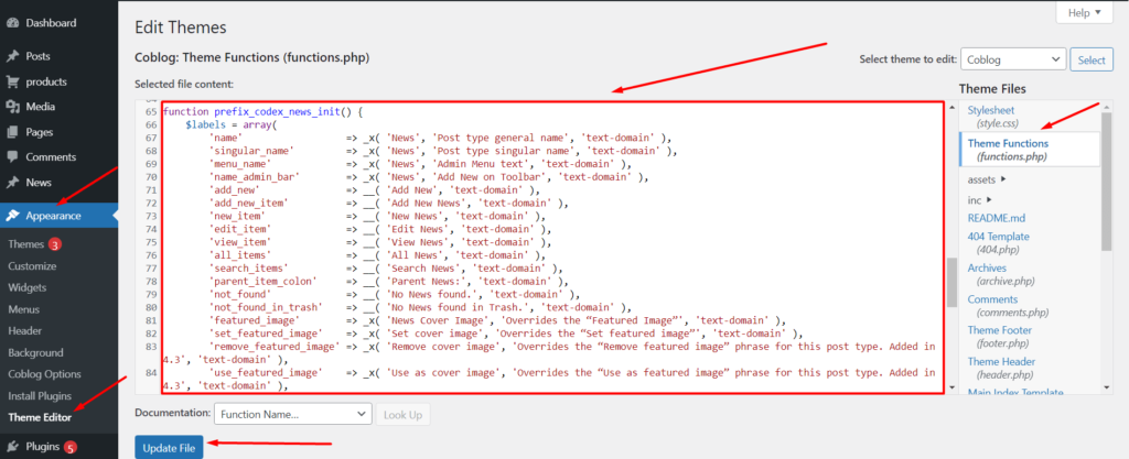 Adding code to the functions.php file