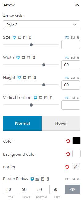 Arrow Settings of Product Slider