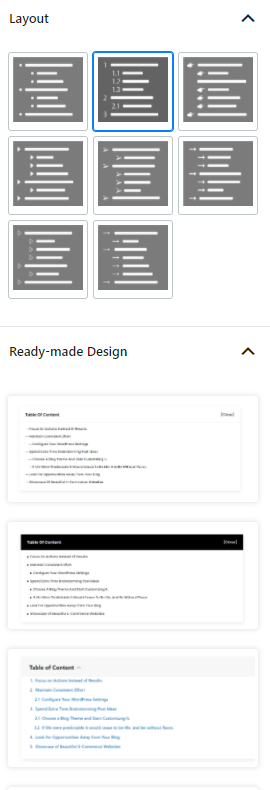 Layouts and Ready Made Designs