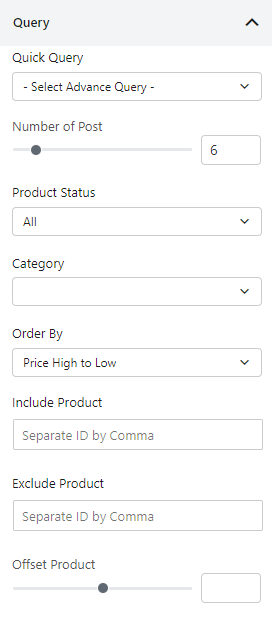 Query Builder of product slider