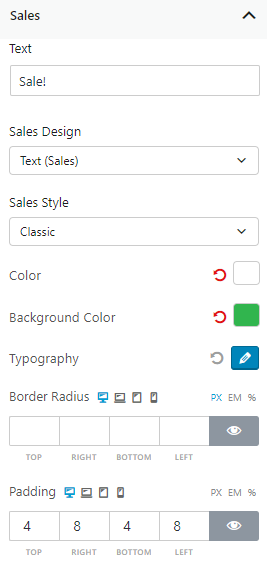 Sales Settings of Product Slider