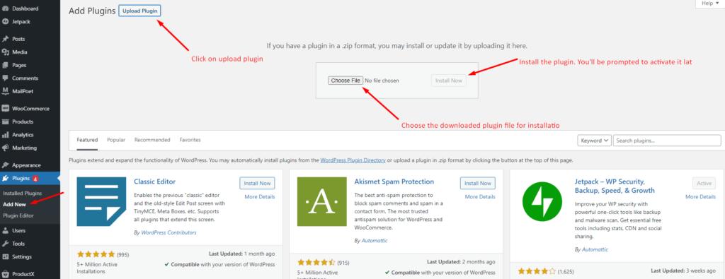 Uploading and Installing Plugins