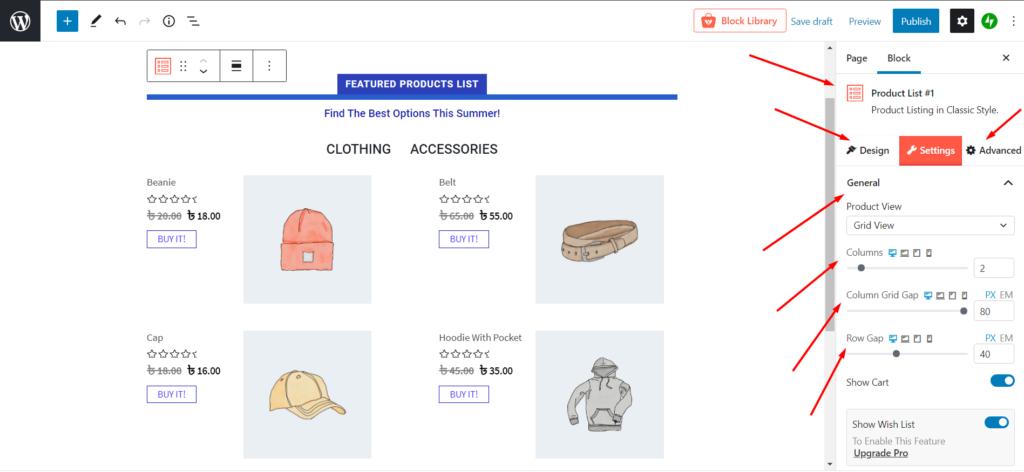 WooCommerce Product List View Settings