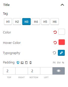 Title Settings Product Slider