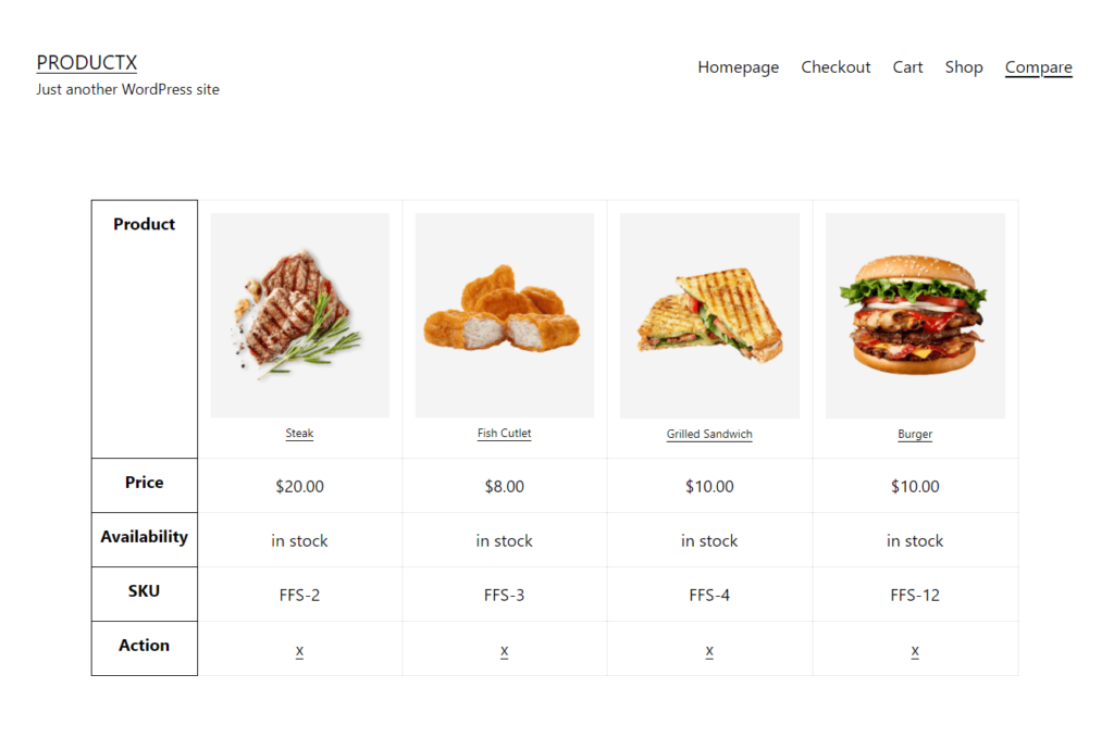 Example of Compare Page
