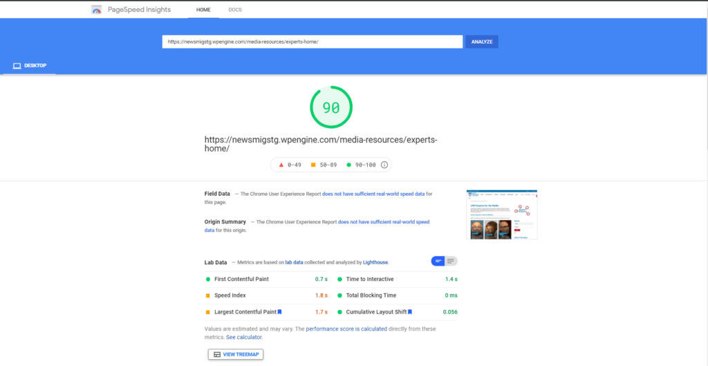 Page Speed Insights Improvements of a site built with Gutenberg